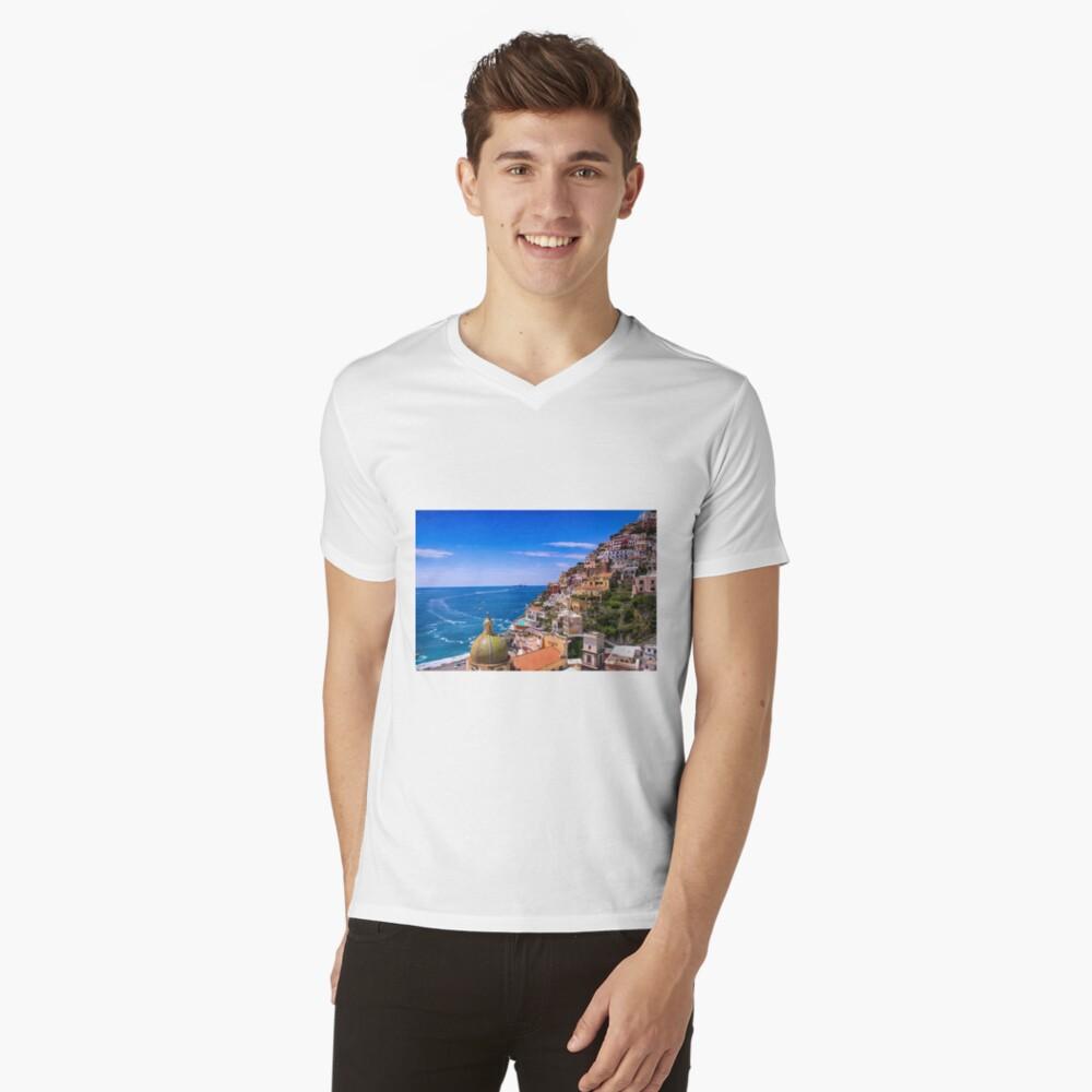 Liebe von Positano Italien T-Shirt mit V-Ausschnitt