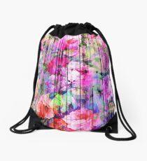 Vintage Bright Chic Floral Pattern Purple Wood Drawstring Bag