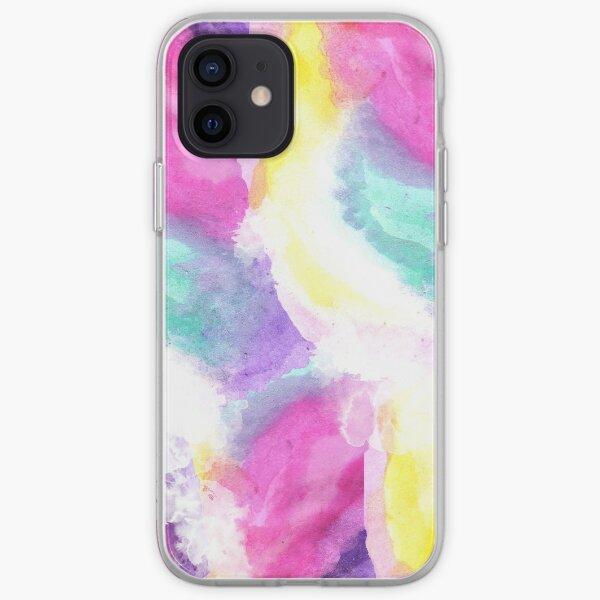 Coups de pinceau aquarelle pastel lumineux Girly Coque souple iPhone