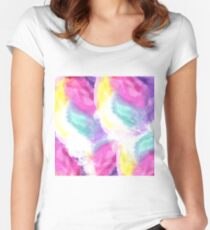 Girly bright pastel watercolor brush strokes Women's Fitted Scoop T-Shirt