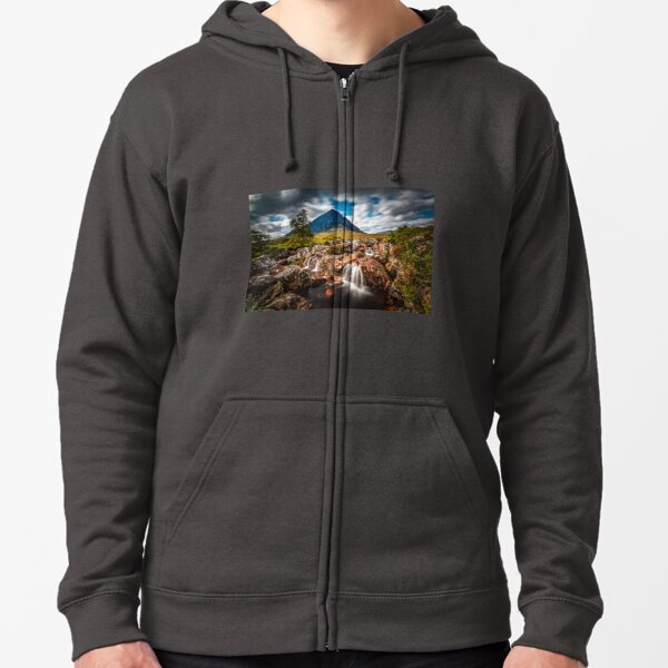 Waterfalls at the Buachaille Etive Mor Zipped Hoodie