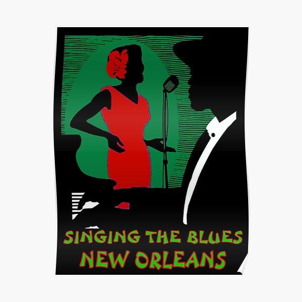 SINGING THE BLUES : Vintage New Orleans Mardi Gras Print Poster