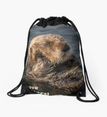 Sleepy Sea Otter! Drawstring Bag