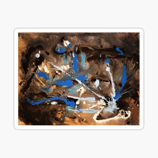 Blue Decay Painting Sticker