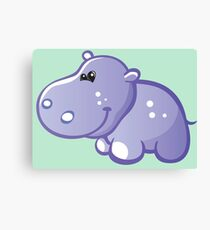 Funny blue hippo Canvas Print