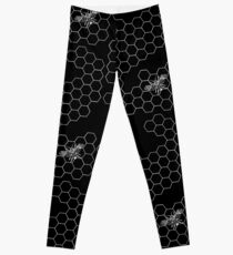 Beehive and Bee Black Leggings