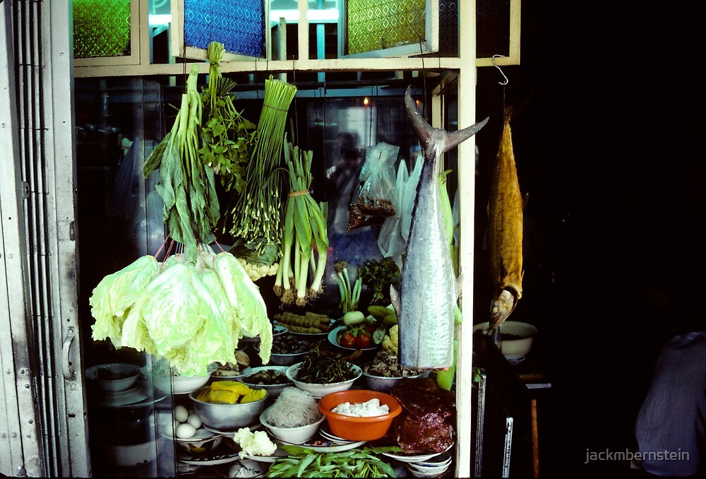 Vegetables for sale, Bangkok, Thailand, 1985 by jackmbernstein
