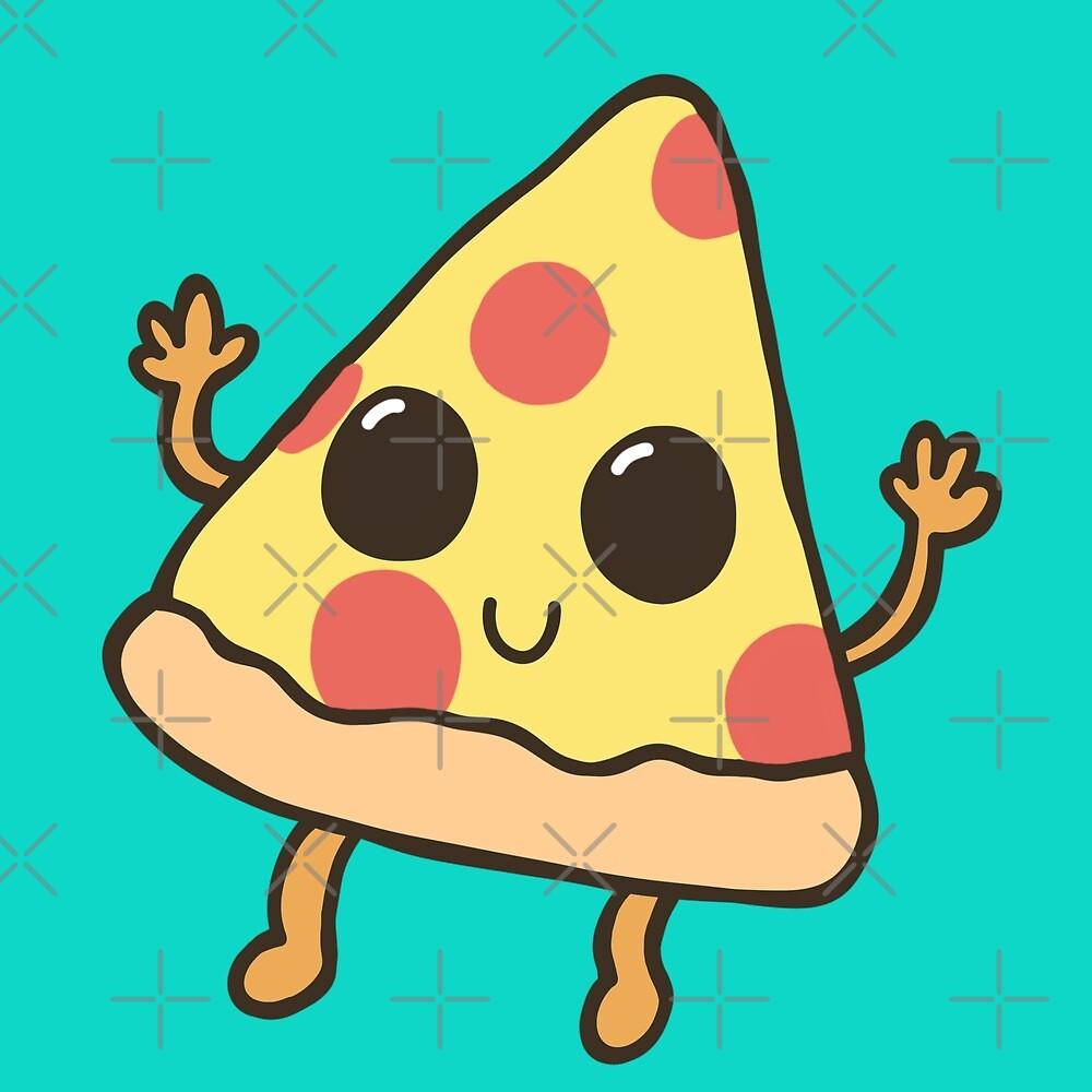 Cute Kawaii Pizza Illustration By Abis Artbook Redbubble