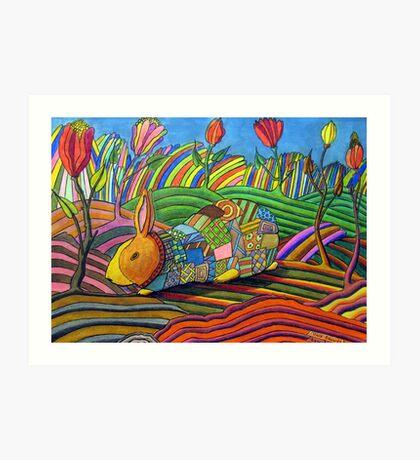301 - PATCHWORK BUNNY - DAVE EDWARDS - COLOURED PENCILS & INK - 2010 Art Print