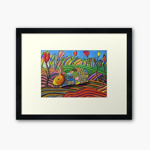 301 - PATCHWORK BUNNY - DAVE EDWARDS - COLOURED PENCILS & INK - 2010 Framed Art Print