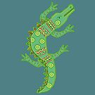 Green crocodile with floral pattern by Olga Chetverikova