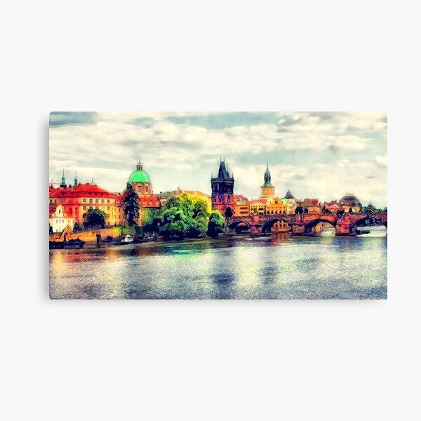 Prague bridge watercolor #prague Canvas Print