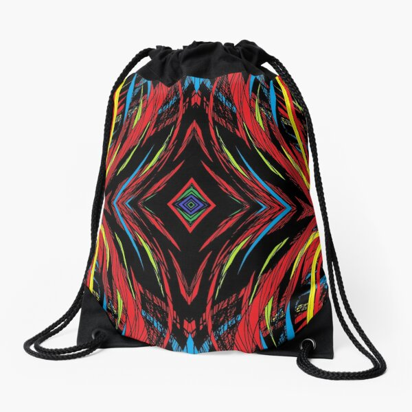 abstract, pattern, art, design, shape, decoration, illustration, bright, futuristic, textured, backgrounds, in a row, geometric shape, colors, multi colored, large, square Drawstring Bag