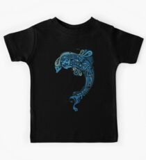 Blue dolphin - unique sea artwork   Kids Tee