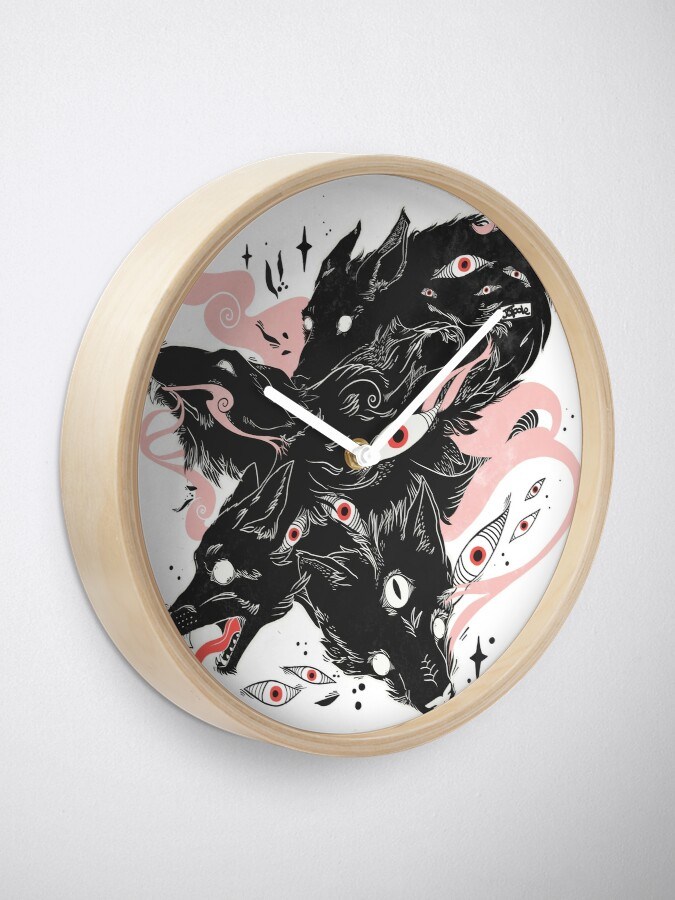 Alternate view of Wild Wolves With Many Eyes Clock
