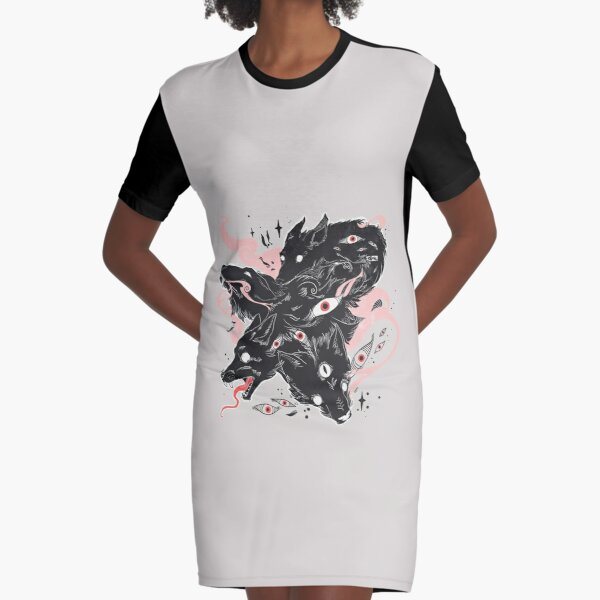 Wild Wolves With Many Eyes Graphic T-Shirt Dress