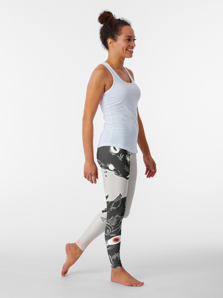Alternate view of Wild Wolves With Many Eyes Leggings