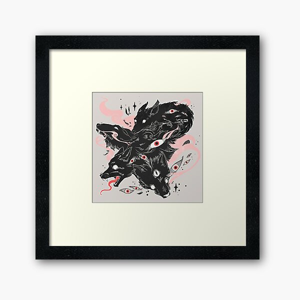 Wild Wolves With Many Eyes Framed Art Print