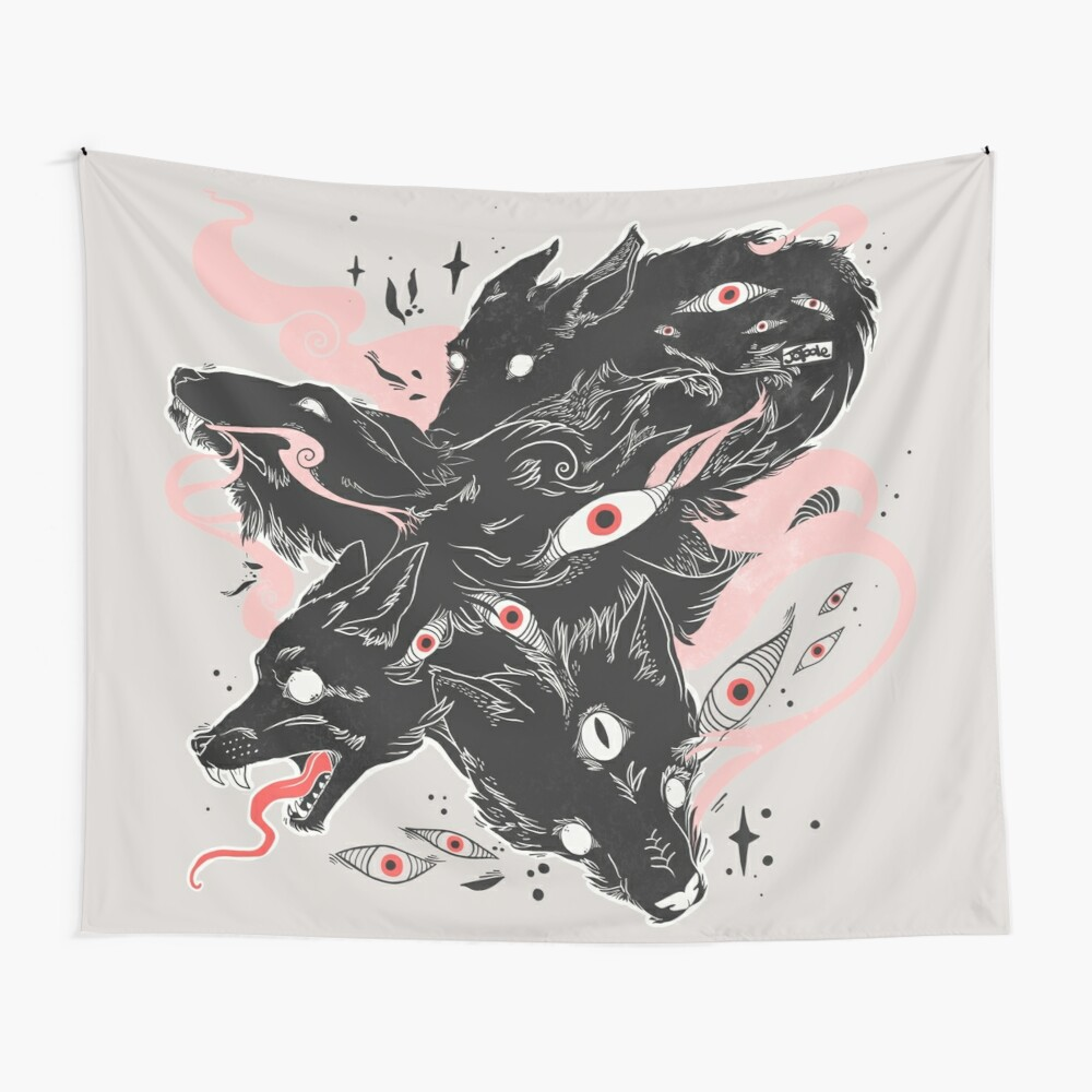 Wild Wolves With Many Eyes Wall Tapestry