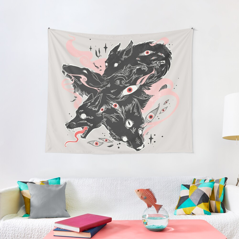 Wild Wolves With Many Eyes Tapestry