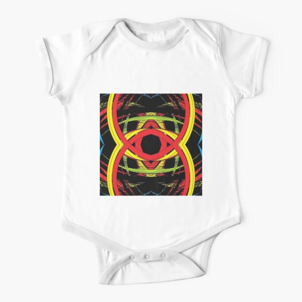 design, illustration, art, decoration, abstract, pattern, element, shape, gold colored, textured, colors, circle, styles, shiny, square Short Sleeve Baby One-Piece