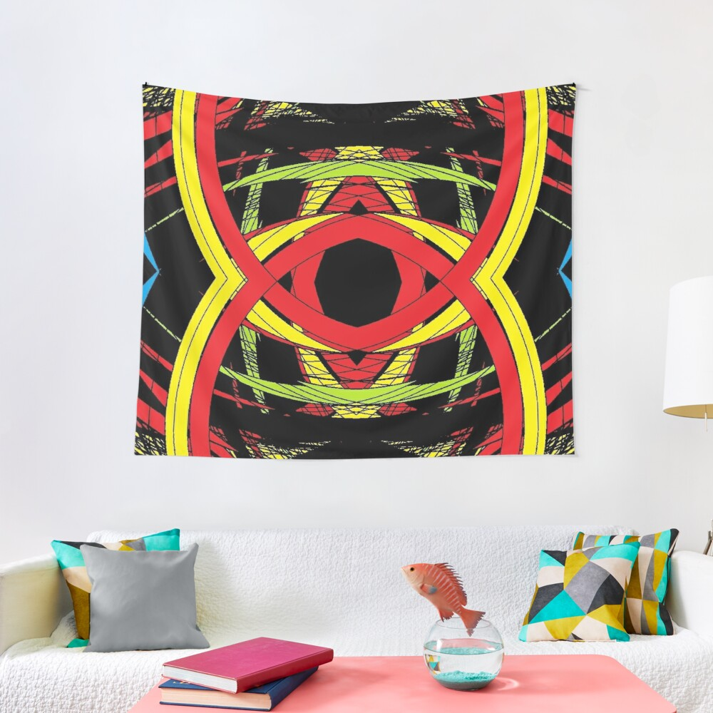 design, illustration, art, decoration, abstract, pattern, element, shape, gold colored, textured, colors, circle, styles, shiny, square Tapestry
