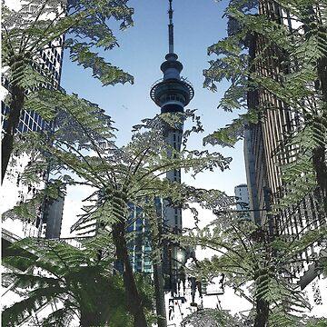 Auckland Sky Tower Tree Fern by milesdesignart
