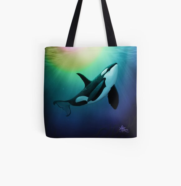 """""""The Dreamer Ascends"""" by artist Amber Marine ~ (Copyright 2015) ~ Orca Art / Killer Whale Digital Painting All Over Print Tote Bag"""