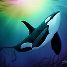"""""""The Dreamer Ascends"""" by artist Amber Marine ~ (Copyright 2015) ~ Orca Art / Killer Whale Digital Painting by Amber Marine ~ Wildlife Artist ~ © 2004-2019"""