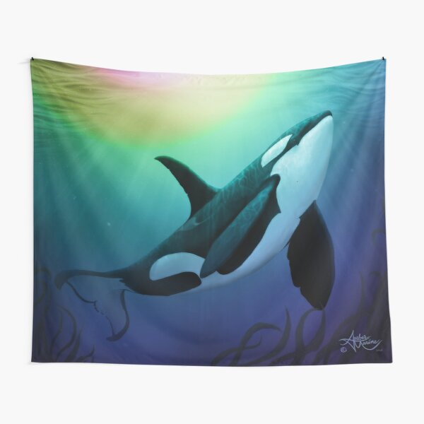 """""""The Dreamer Ascends"""" by artist Amber Marine ~ (Copyright 2015) ~ Orca Art / Killer Whale Digital Painting Tapestry"""