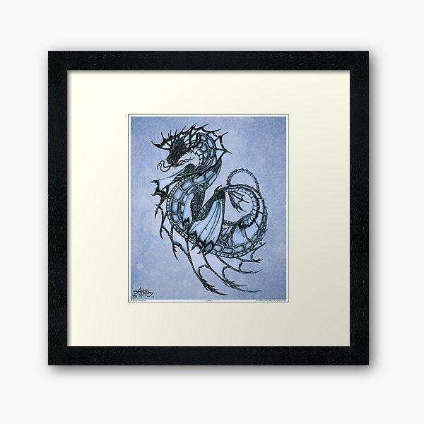 """Tsunami"" Sea Dragon, art by Amber Marine ~ (Ice Blue) ~ Graphite Illustration  (Copyright 2005) Framed Art Print"