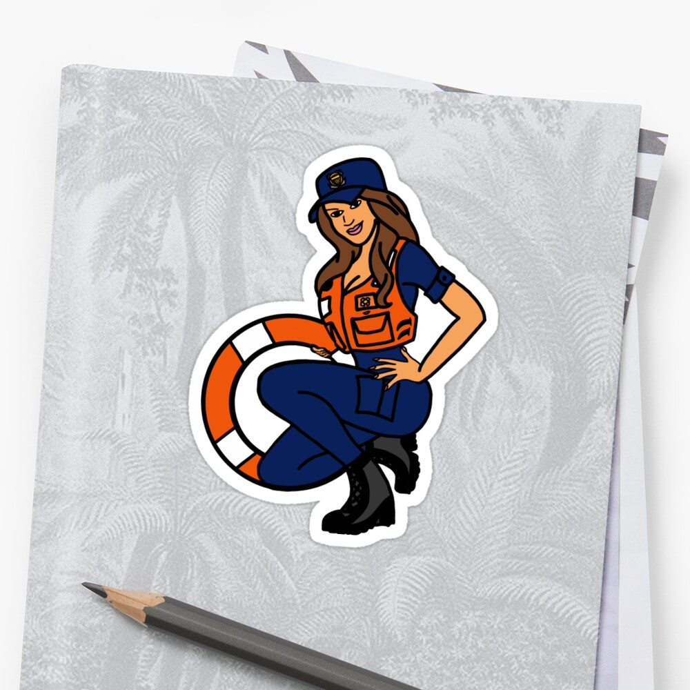 Coast Guard Lifering Pinup Sticker