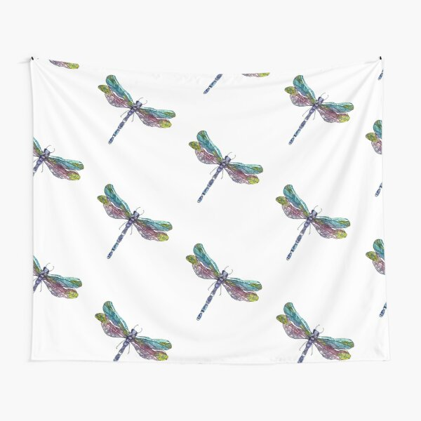 Blue Dragonfly Watercolor Batik Tapestry