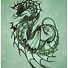 """Tsunami"" Sea Dragon, art by Amber Marine ~ (Jade) ~ Graphite Illustration (Copyright 2005) by Amber Marine ~ Wildlife Artist ~ © 2004-2019"