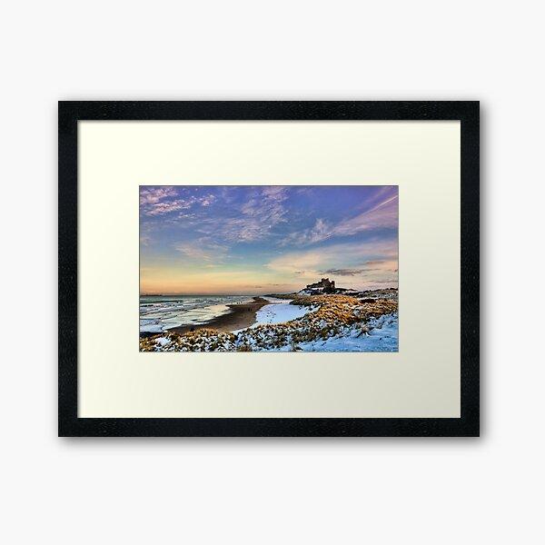 Bamburgh Castle in the Snow Framed Art Print