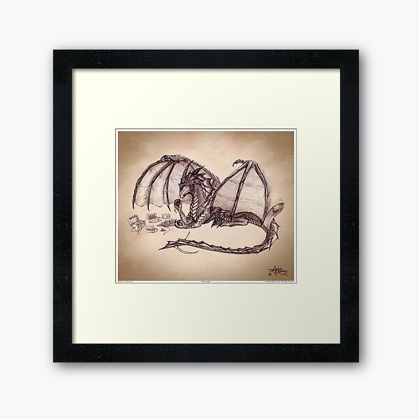 """""""Material Girl"""" by Amber Marine ~ Storm Dragon art, graphite and charcoal (Copyright 2005) Framed Art Print"""