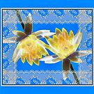 Electric Water Lily with Faux Lace Frame by Rosalie Scanlon