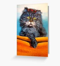 Cat.Go to swim! Original oil painting Greeting Card