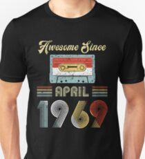 Awesome Since April 1969 Vintage Cassette Tape 50th Birthday Retro 80s Style Unisex T-Shirt