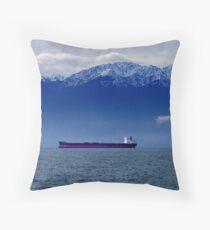 Tanker at Anchor Throw Pillow