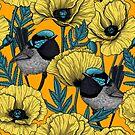 Fairy wren and poppies in yellow by Katerina Kirilova
