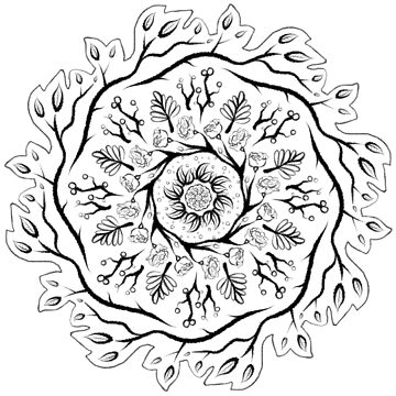 Floral ink mandala (monochrome version) by pastelquartz