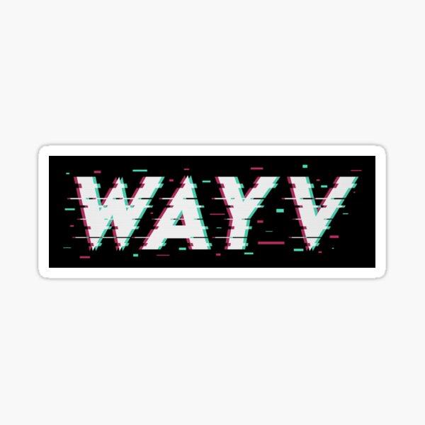 WayV KPOP Regular Inspired Glitch 3D Text Logo  Sticker