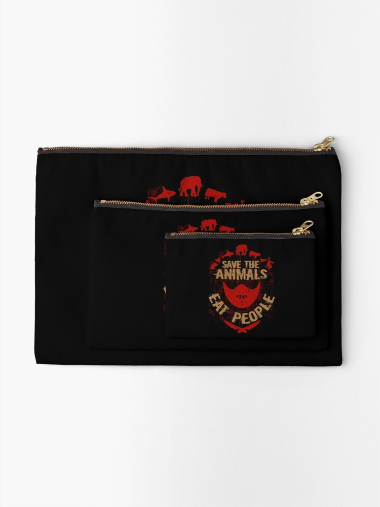 Alternate view of save the animals, EAT PEOPLE Zipper Pouch
