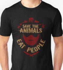 rette die Tiere, ESSEN SIE MENSCHEN Slim Fit T-Shirt