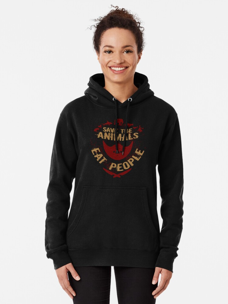 Alternate view of save the animals, EAT PEOPLE Pullover Hoodie