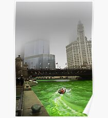Chicago River and Fog Poster