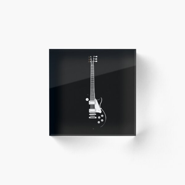 Gibson Guitar in Black and White Acrylic Block