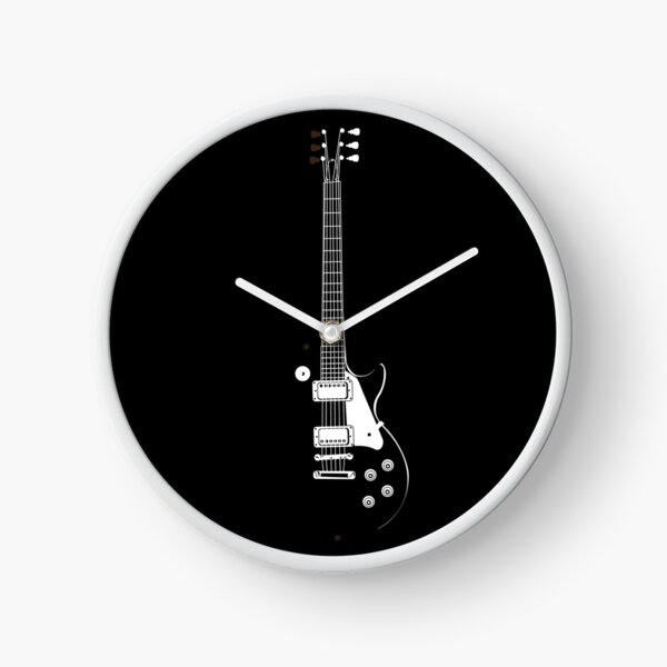 Gibson Guitar in Black and White Clock