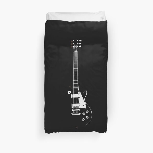 Gibson Guitar in Black and White Duvet Cover